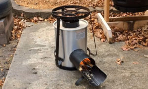This video shows the build of an efficient ,portable,smokeless Rocket Stove from an Old Turkey Fryer.This rocket stove burns so efficiently that it ensures ...